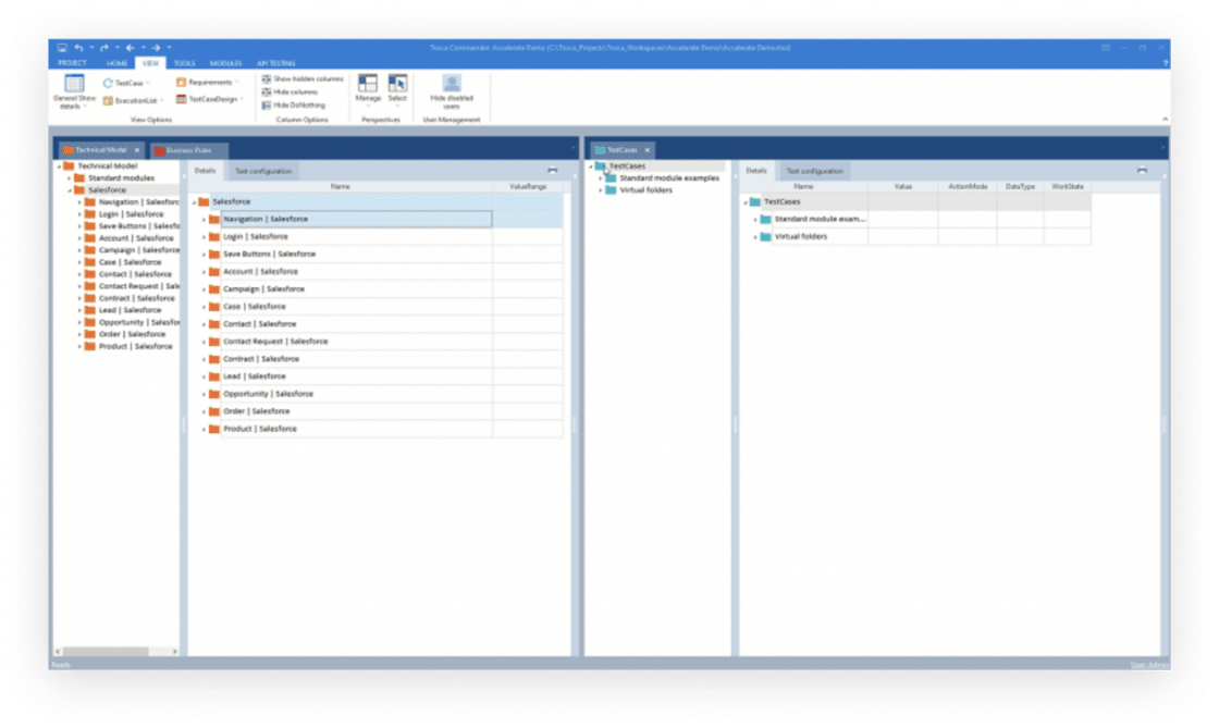 Screenshot of UI for Tosca for Salesforce Testing