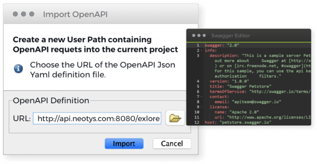 NeoLoad screen showing connection of Swagger and Open API for performance test APIs