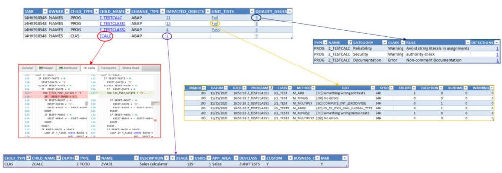 Screenshots showing the detected ABAP code changes in SAP systems during the analysis