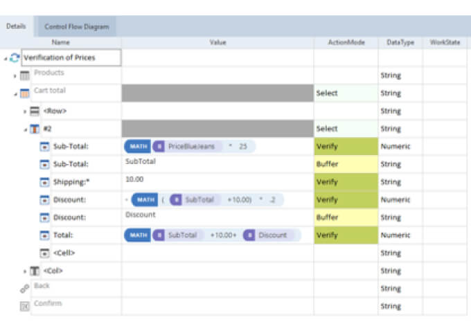 Tricentis Tosca's screen to validate test variables