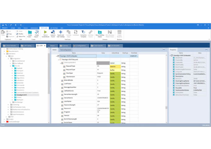 GUI of Tosca showing verification analysis of tests and variables