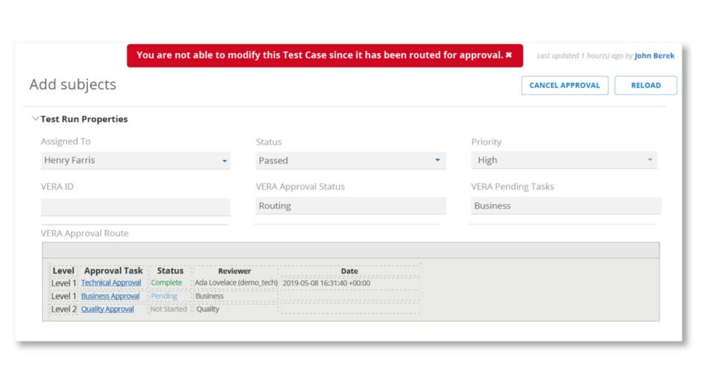 Screen showing locked in test cases for approvals that can't be modified