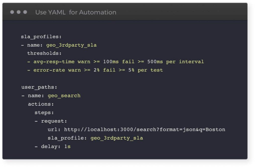 Screen of script used for performance testing with simple command line interface