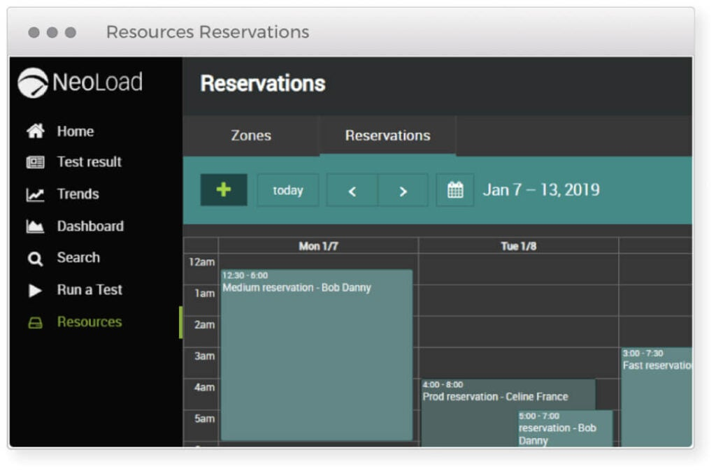 Screen showing NeoLoad's calendar like reservation feature for setting aside virtual resources