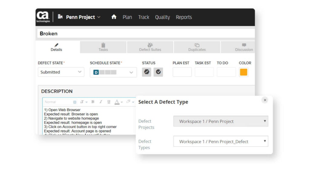 qTest and CA Agile screen of how to report testing defects reported back to qTest