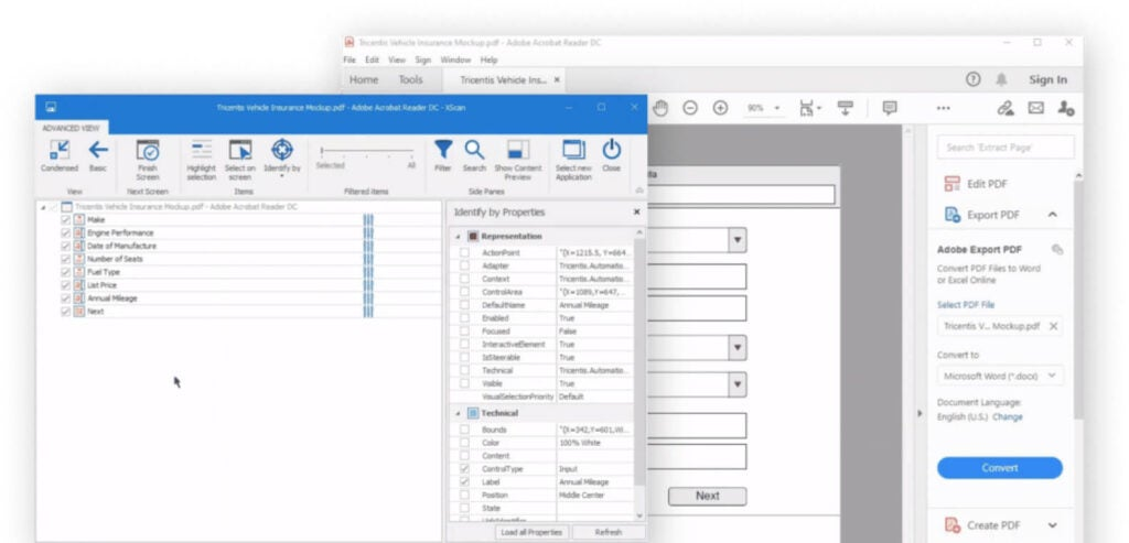 GUI showing Vision AI automatically generating test cases based on a prototype PDF