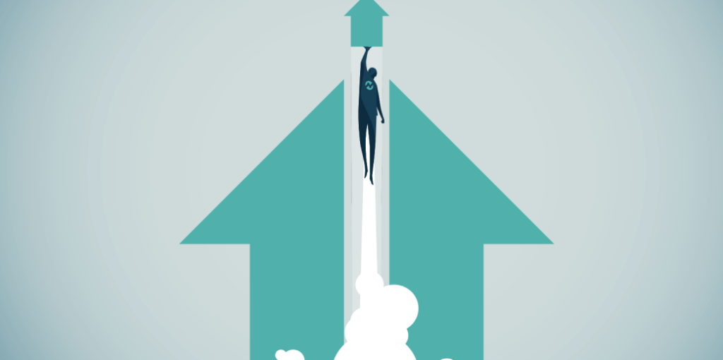 Enterprises migrating from LoadRunner graphic showing person rocketing onward and upward