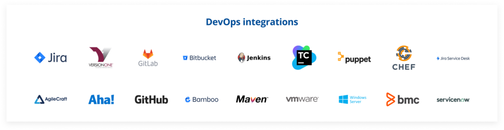 many technology logos that Tricentis test automation testing products support that are devlops integrations k from jira to servicenow and chef